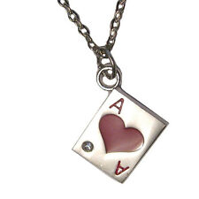 """Ace of Hearts Poker Card Crystal Charm Silver Plated 18"""" Necklace"""