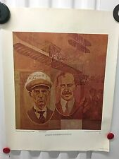 VINTAGE 1969 AIR FORCE POSTER~First One Hour Flight 1908 Fort Myer Alain Moreau~