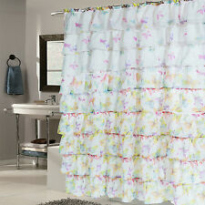"""Elegant Butterfly Pattern Crushed Voile Ruffled Tier Shower Curtain 70"""" x 72"""""""
