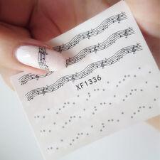 1 Sheet ongle stikers Nail Art Water autocollant de filigrane musique note décor