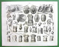 ANCIENT ARMOR Shields Spears Cuirass Scabbards - SUPERB 1844 Antique Print