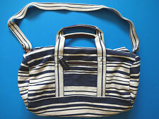 Ralph Lauren Polo Vintage Navy Blue Leather Trim Striped Nautical Duffle Bag