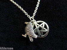 "Raven & Pentacle Pendant 18"" silver plated chain wicca pagan pentagram jewellery"