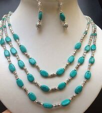 """268CT CT.NATURAL RICH BLUE REAL TURQUOISE STERLING 925 SILVER NECKLACE 16-19"""""""