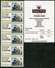 SWINDON STEAM GWR MUSEUM + LOGO LOCOMOTIVE COLL SET POSTAL RATES ERROR POST & GO
