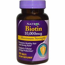 Natrol Biotin 10,000 Mcg 100 Tablets Maximum Strength for Hair Skin and Nails