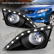 For 2009-2010 Toyota Corolla White LED Smoked Bumper Fog Driving Light Lamps Kit