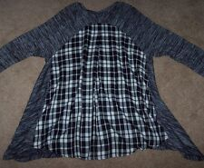 NWT Intro Black/Gray Marl SHARKBITE Long Tunic Top PLAID BACK Inset XL Ivory