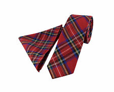 Mens Scottish Tartan Wool Tie Set - Skinny Slim - Multi Red Blue - FREE Hanky