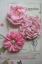 Mixed PINK Fabric 3 Flower Pk with 2 Pearl Centres 60-75 mm across Manor House