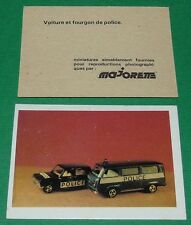 VOITURE ET FOURGON DE POLICE ECOLE BON-POINT MINIATURE MAJORETTE 1970 70's