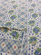 French Country Printed Tablecloth, Blue Floral Striped Pattern