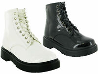 LADIES/WOMEN ANKLE RETRO COMBAT RIDING FUNKY PUNK WINTER LACE UP BOOTS SIZES 3-8