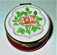 CRUMMLES ENGLISH ENAMEL BOX - FLOWERS - PINK ROSES - VALENTINE'S DAY