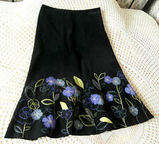 Black soft cotton needlecord skirt by MONSOON Size 10 Green grey purple floral