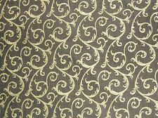 UNBRANDED UPHOLSTERY FABRIC/CLOTH/MATERIAL BROWN WITH BEIGE SCROLL DESIGN 6yards