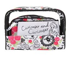 New Disney Alice In Wonderland 3 Pack Curiouser Cosmetic Bags