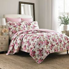 Laura Ashley PINK ROSE FLORAL Cotton Reversible Quilt Bedding Set,/Full-Queen