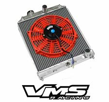 VMS POLISHED ALUMINUM DUAL CORE RADIATOR + RD SLIM FAN FOR 96-98 HONDA CIVIC