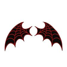 Set of 2 Red Web Bat-Wing Patches Kreepsville Craft Apparel Iron-On Applique