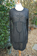 Christopher Kane Black Mesh Dress Mirrored 14 Topshop BNWOT