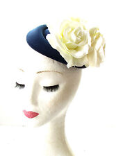 Navy Blue Cream Rose Flower Pillbox Hat Fascinator 1950s Rockabilly Races 1853