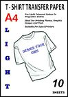 10 x A4 Iron-On T-Shirt Transfer Paper For Light Fabrics (Swiss Quality)