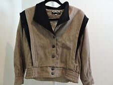 Sam Vin Wool Blend Black and Brown Lined 5 Button Front Jacket - Size - Medium