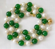 7-8mm White Akoya Pearl & Emerald Round Beads Necklace 18""