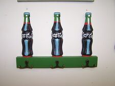 COCA COLA 3 BOTTLE WOODEN COAT HAT OR KEYS RACK 3 DOUBLE HOOKS