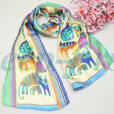 """Summer New 100% SILK Animal Print Oblong Scarf shawl 50""""x10"""""""