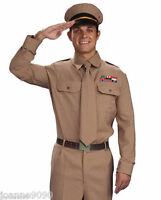 Mens Armed Forces WW2 American Army General Soldier Fancy Dress Costume Uniform