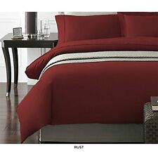 NEW New York Collection Duvet Cover w/ Pillow Cases - Rust - Size: King
