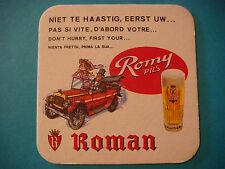 Beer Coaster ~*~ Roman Romy Pils Bier ~ Oudenaarde, Belgium ~ Old Racing Vehicle