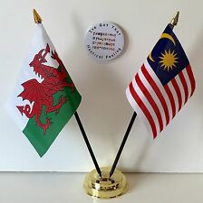 Wales & Malaysia Double Friendship Table Flags & Badge Set