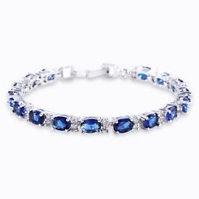 "Blue Swarovski Crystal 18K White gold filled SHINING woman bracelet 6.7""12.3g"