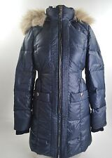 2012 NWT WOMENS JUICY COUTURE SHIMMER PUFFER JACKET $350 S regal blue fur hood