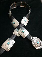 Navajo Silver and Turquoise Concho Belt Signed Square Concho*K60