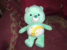 "CARE BEARS 2013 GREEN WISH BEAR SOFT TOY PLUSH 12"" BUTTON TO BOTTOM VGCC"