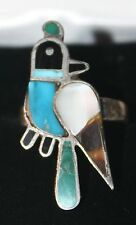 ZUNI 925 STERLING SILVER QUAIL BIRD MOP TURQUOISE INLAY VINTAGE RING SIZE 6.5