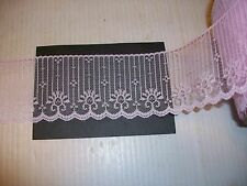 "VINTAGE ROLL CANDLEWICK LACE 2 1/2"" PINK 100 yds FLAT CRAFT DOLLS SEW TRIM"