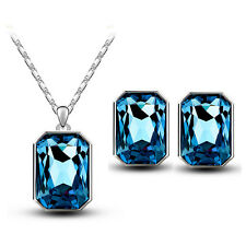 Shiny Silver & Ink Blue Rectangle Jewellery Set Stud Earrings & Necklace S703