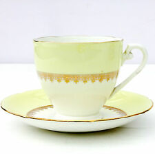 Vintage 1950s AB Jones Royal Grafton Bone China Tea Cup Saucer Set Pastel Yellow