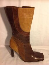 Faith Brown Mid Calf Leather Boots Size 7