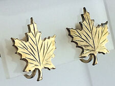 VINTAGE BOND .925 STERLING SILVER VERMEIL DIAMOND CUT MAPLE LEAF SCREW EARRINGS