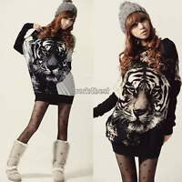 Women Tiger Print Batwing Long Sleeve Loose Pullover Tops Blouse shirt Sweater