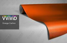 "5ft x 60"" 3D Orange carbon fiber vinyl car wrap sheet roll film sticker decal"