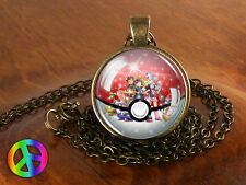 Pokemon Snow Globe Pokeball Handmade Necklace Jewelry Pendant Charm Gift Present