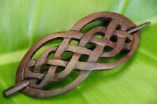 Carved CELTIC Style wood Hair Pin BARRETTE Slide Clasp Clip Sono wood handmade