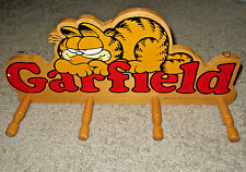 vintage GARFIELD 1978 ENESCO WOOD WOODEN 4 PEG WALL MOUNTED hat coat  RACK
